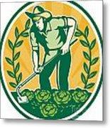 Farmer Gardener With Garden Hoe Cabbage Metal Print by Aloysius Patrimonio
