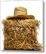Farmer Hat On Hay Bale Metal Print