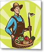 Farmer With Garden Hoe And Basket Crop Harvest Metal Print