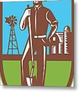 Farmer With Spade Windmill Farm Barn Retro Metal Print by Aloysius Patrimonio