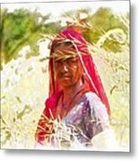 Farmers Fields Harvest India Rajasthan 8 Metal Print
