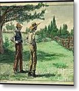 Farmers In Pasture With Trees 1885 Hand Tinted Etching  Metal Print