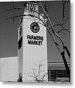 Farmers Market Bw Metal Print