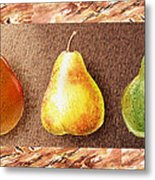 Farmers Market Drive Through Red Yellow And Green Pear Metal Print