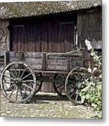 Farmers Trolley Stands For A Farm In Gees The Netherlands Metal Print