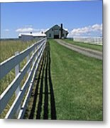Farmhouse And Fence Metal Print by Frank Romeo