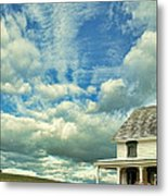 Farmhouse By Cornfield Metal Print