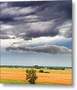 Farmhouse In The Storm Panorama Metal Print