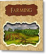 Farming And Country Life Button Metal Print