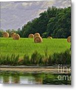 Farming Reflection Metal Print