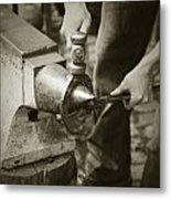 Farrier Making Horseshoe Metal Print