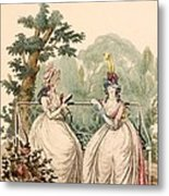 Fashion Plate Of Ladies In Summer Day Metal Print