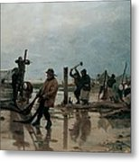Fastening The Nets Metal Print by Edouard Joseph  Dantan