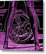 Faster In Fishnets Metal Print