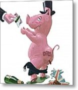 Fat British Bank Pig Getting Government Handout Metal Print by Martin Davey