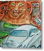 Fat Cat And The Bentley Metal Print