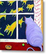 Fat Inside Cat - Why Fluffie Can Not Possibly Go Out Metal Print