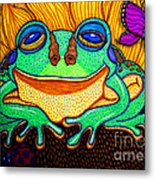 Fat Green Frog On A Sunflower Metal Print