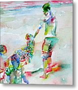 Father And Children Metal Print