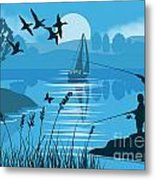 Father And Son Fishing Metal Print