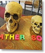Father And Son - Toy Skulls At The Cafe Metal Print