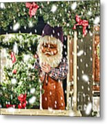 Father Christmas In The Snow Metal Print
