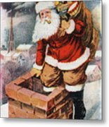 Father Christmas Popping Down The Chimney To Deliver Gifts To The Good.  Metal Print