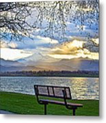Favorite Bench And Lake View Metal Print