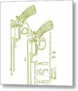F.b.e Beaumont Revolver Patent Metal Print