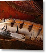 Feather And Leather Metal Print