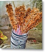 Feather Duster Bouquet Metal Print