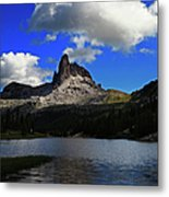 Federa Lake Lago Federa And Peak Of Metal Print