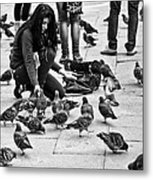 Feeding The Pigeons Metal Print
