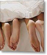 Feet In Bed Metal Print