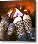 Feet Warming By Fireplace Metal Print