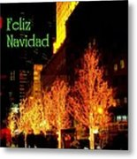 Feliz Navidad - Merry Christmas In New York - Trees And Star Holiday And Christmas Card Metal Print