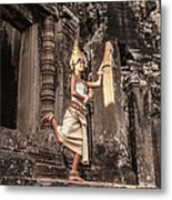 Female Apsara Dancer, Standing On One Metal Print