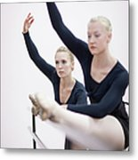 Female Ballerinas Stretching At The Metal Print