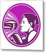 Female Boxer Punch Retro Metal Print