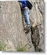 female climber on Via Ferrata Metal Print