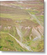 Female Hiker Standing With A Backpack Metal Print