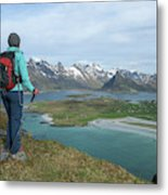 Female Hiker With Over Yttersand Beach Metal Print