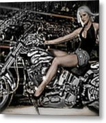 Female Model With A Motorcycle Metal Print