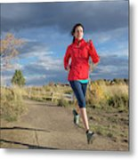 Female Runner In Colorado Metal Print