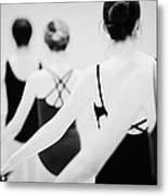 Female Teenage Ballet Students Holding On To A Ballet Barre At A Ballet School In The Uk Metal Print by Joe Fox