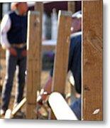 Fence And Cowboy 17525 Metal Print