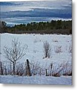 Fence And Snowy Field Metal Print