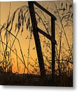 Fence At Sunset I Metal Print
