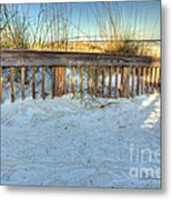 Fence At The Beach In St Augustine Florida Metal Print