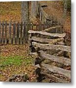 Fence In Autumn Metal Print